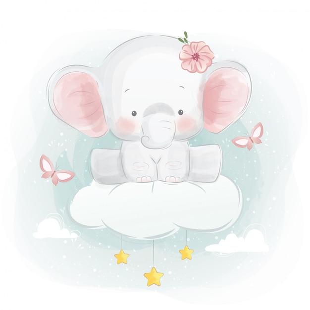 Elefante fofo sentado em uma nuvem Vetor Premium