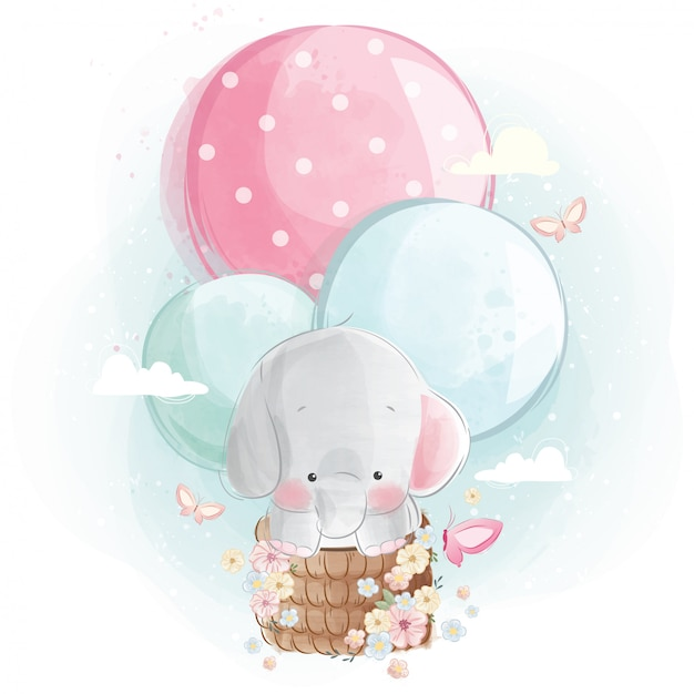 Elefante fofo voando com balões Vetor Premium