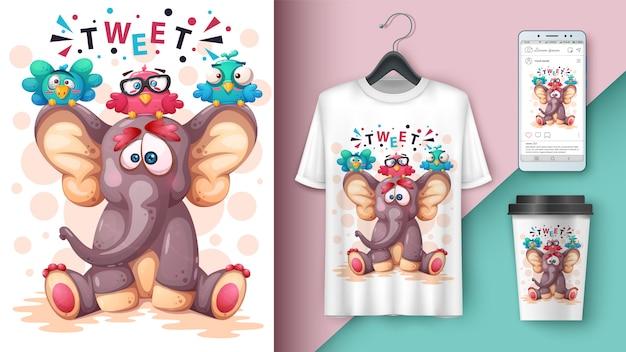Elefante, ilustração pássaro Vetor Premium
