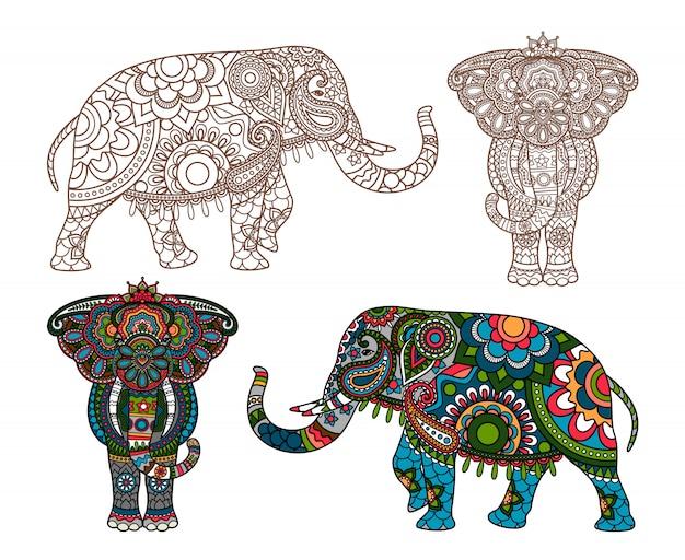 Elefante indiano de vetor Vetor Premium