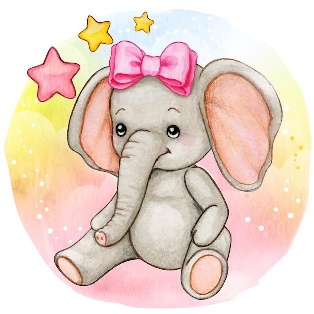 Elefante menina bebê em aquarela sentado no fundo do arco Vetor Premium