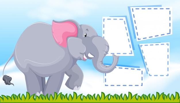 Elefante no modelo de nota Vetor grátis