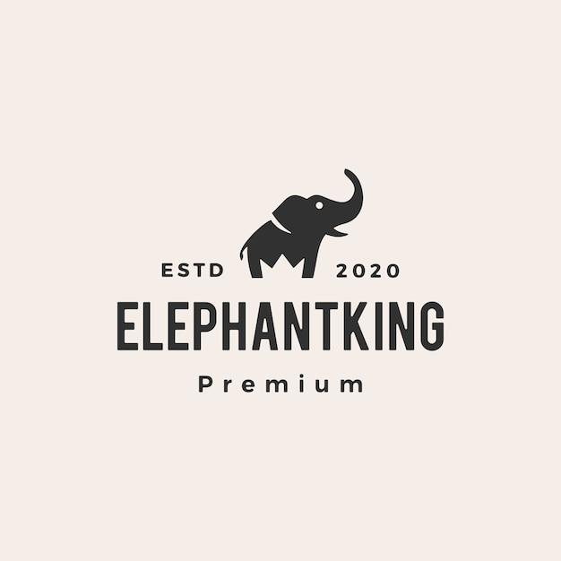 Elefante rei coroa hipster logotipo vintage icon ilustração Vetor Premium