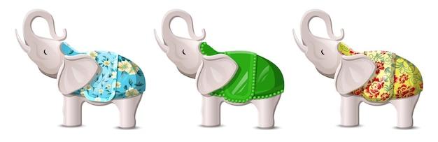 Elefantes da sorte com troncos levantados colocados em branco Vetor grátis