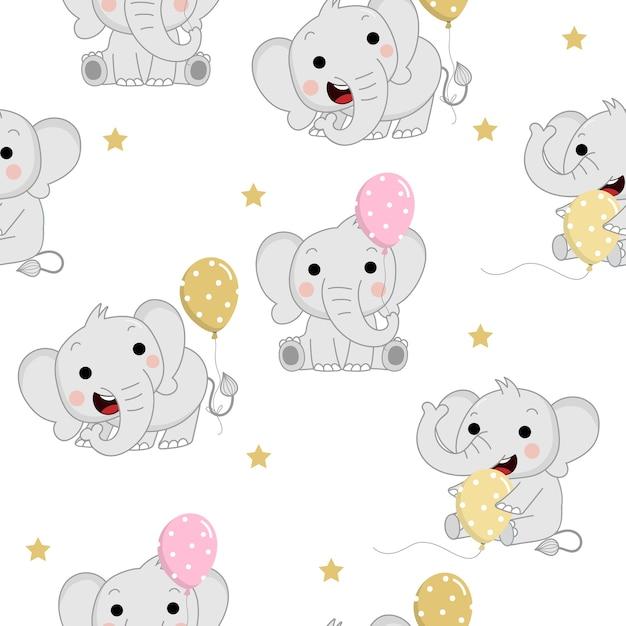 Elefantes de bebê fofo com balão e estrela padrão sem emenda Vetor Premium