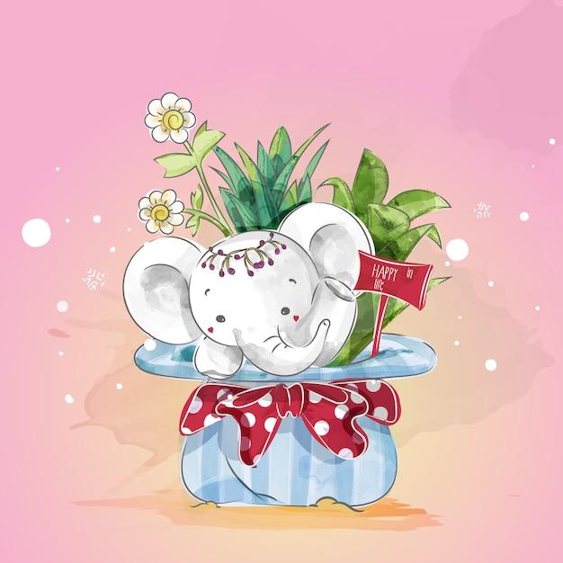 Elefantes no dia de natal floral na aguarela da garatuja. Vetor Premium