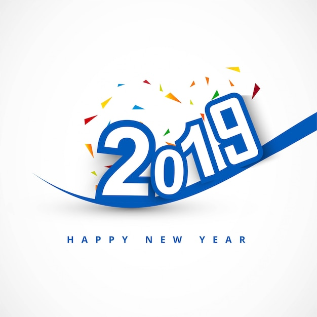 Elegante 2019 feliz ano novo design de cartão colorido Vetor Premium