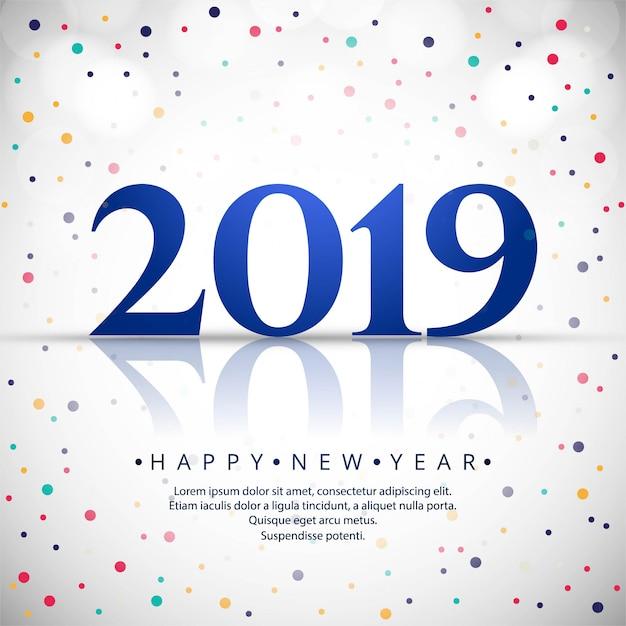 Elegante 2019 feliz ano novo design de cartão colorido Vetor grátis