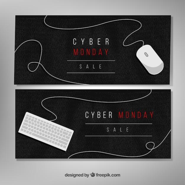 Elegante aquarela banners cyber segunda-feira Vetor grátis