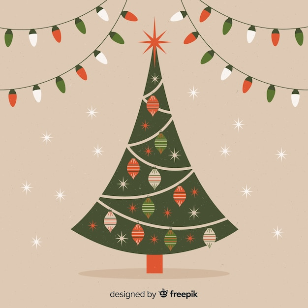Elegante Arvore Natal Com Vindima Desenho Vetor Gratis