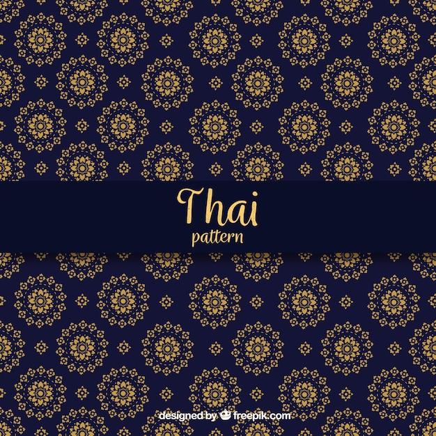 Elegante, azul escuro, tailandês, padrão Vetor grátis