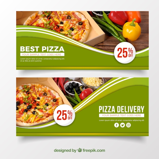 Elegante banner de pizza Vetor grátis