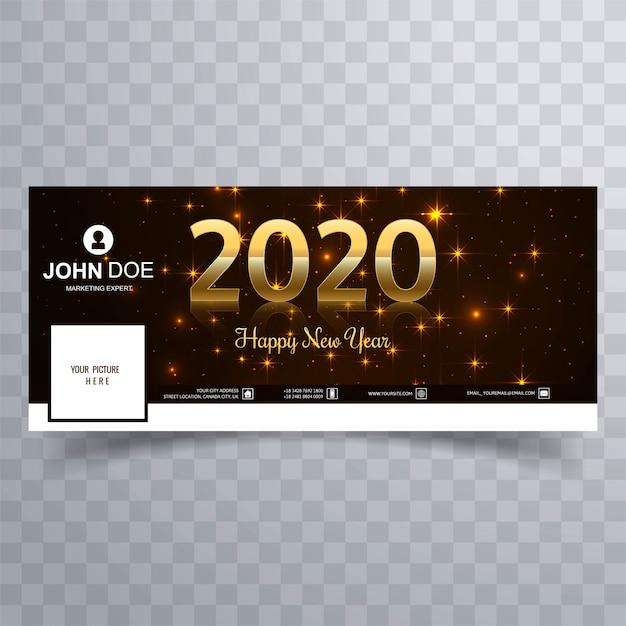 Elegante brilhante dourado feliz ano novo 2020 capa Vetor grátis