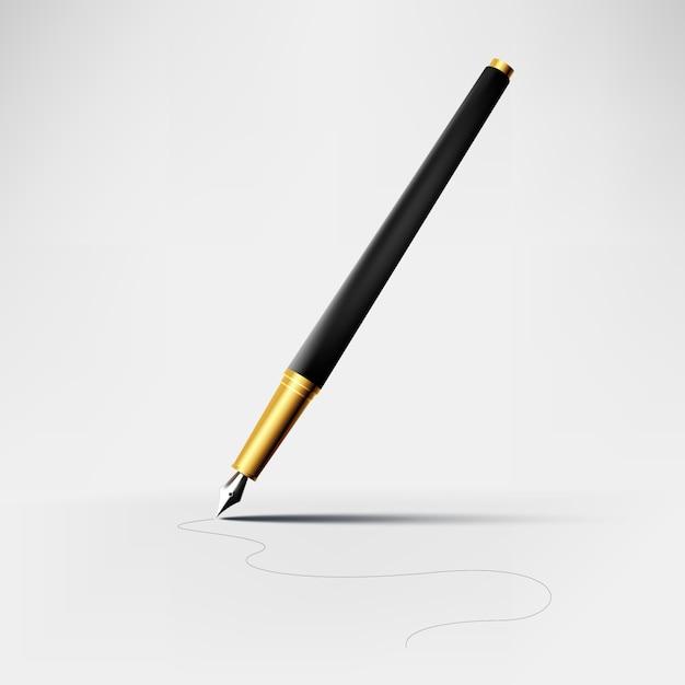 Elegante caneta vector realista Vetor Premium