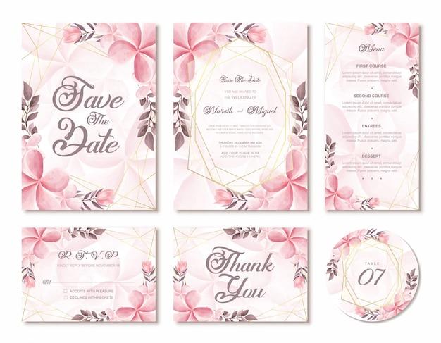 Elegante cartão de convite de casamento aquarela floral flores com moldura geométrica dourada Vetor Premium