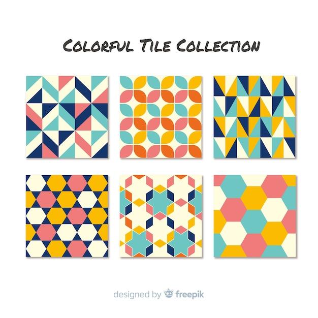 Elegante coleção colorida de telhas Vetor grátis