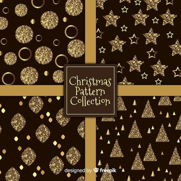 Elegante coleção de padrão de natal preto e dourado Vetor grátis
