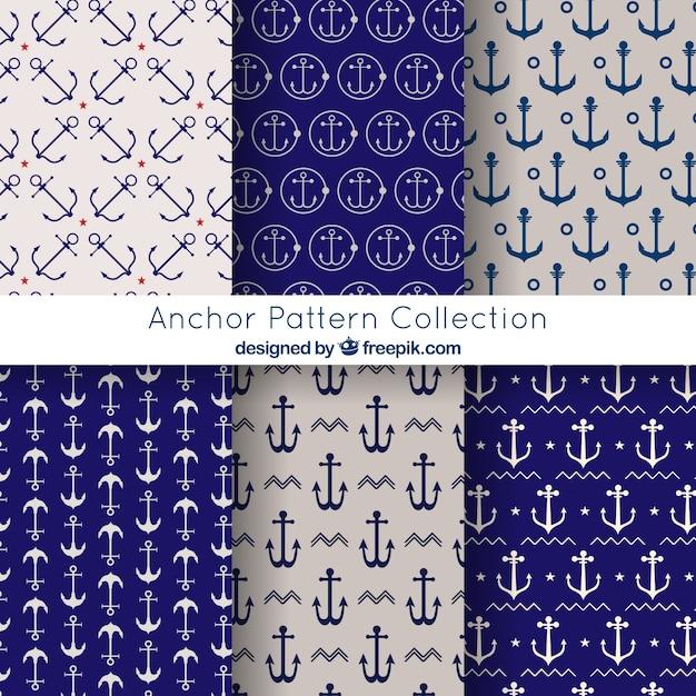 Elegante coleção de padrões de âncora Vetor grátis