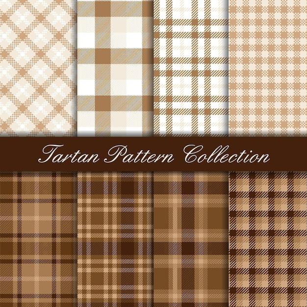 Elegante coleção marrom e branca de padrões sem emenda de tartan Vetor Premium