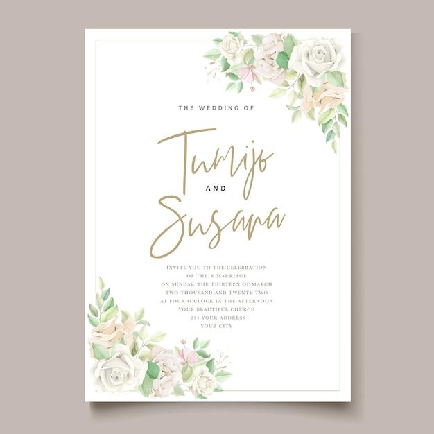 Elegante conjunto de cartão de convite de casamento Vetor grátis