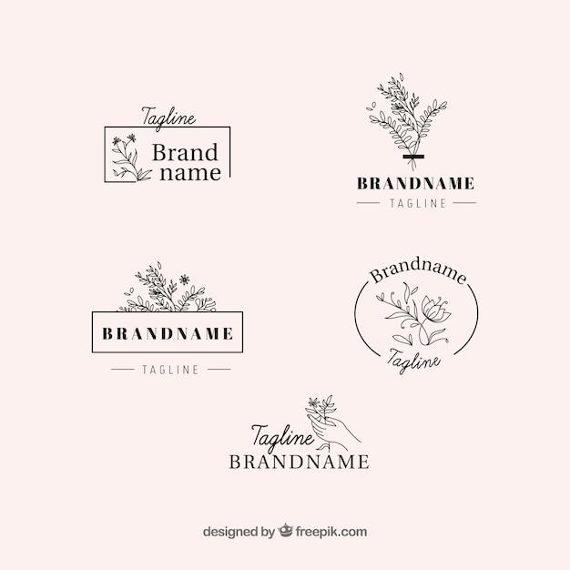 Elegante conjunto de logotipos florais Vetor grátis
