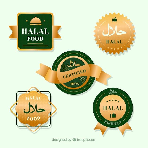 Elegante conjunto de rótulos de comida halal com estilo dourado Vetor grátis