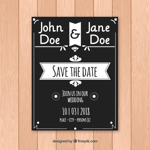 Elegante Convite De Casamento Preto E Branco Vetor Gratis
