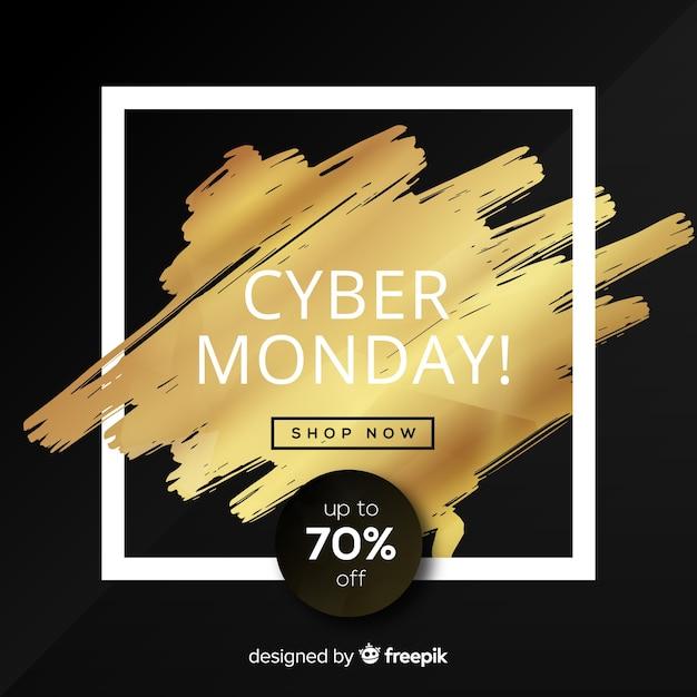 Elegante cyber segunda-feira venda fundo com texto dourado Vetor grátis
