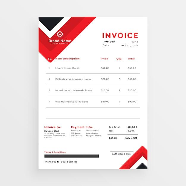 Elegante design de modelo de factura de negócios vermelho Vetor grátis