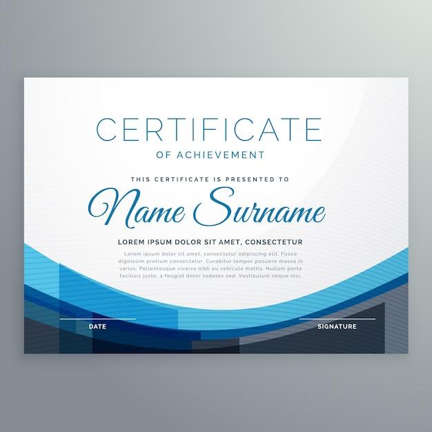 elegante e azul ondulado certificado de conquista de design vetorial Vetor grátis