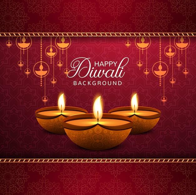 Elegante feliz diwali decorativo fundo vermelho Vetor grátis