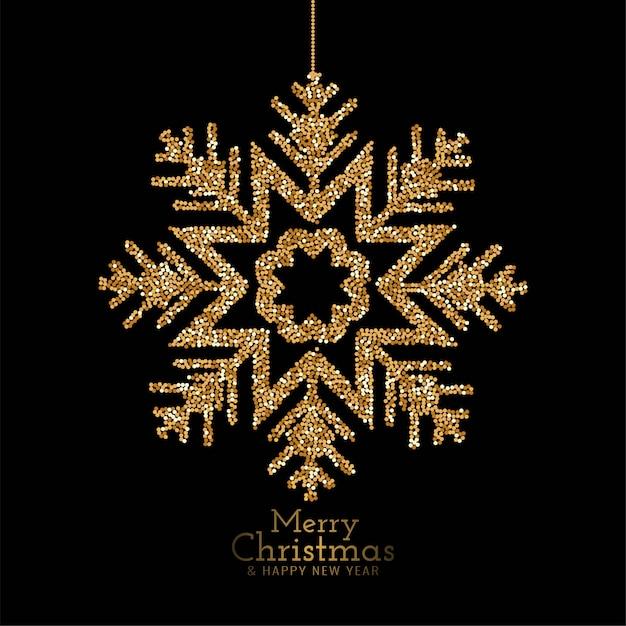 Elegante feliz natal glitter flocos de neve Vetor grátis