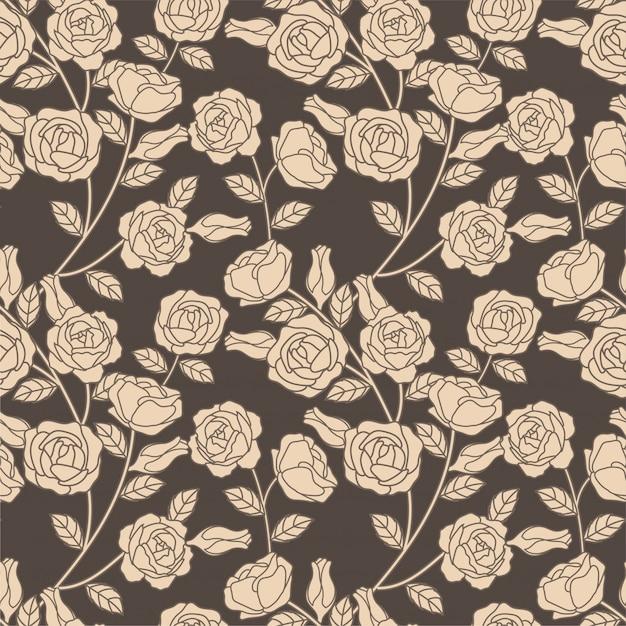 Elegante floral botânica padrão sem emenda rosa Vetor Premium
