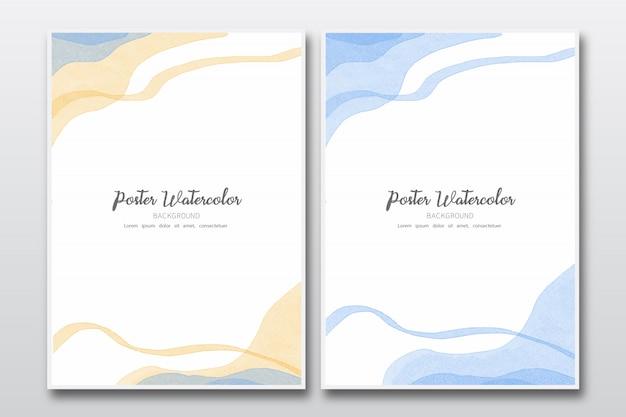 Elegante folha de cor pincel de fundo aquarela Vetor Premium