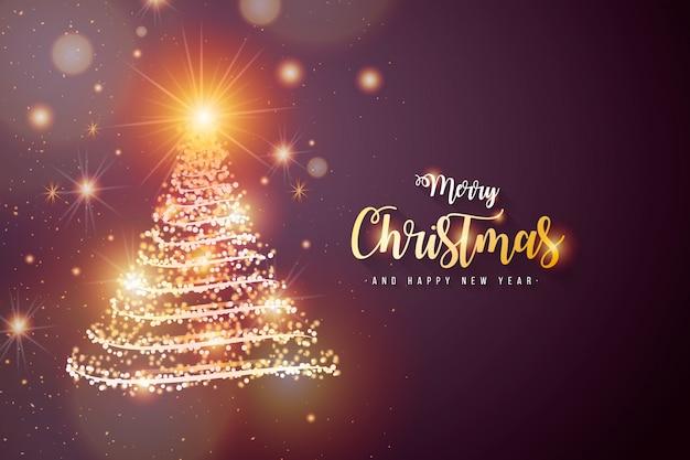 Elegante fundo de natal com árvore brilhante Vetor grátis