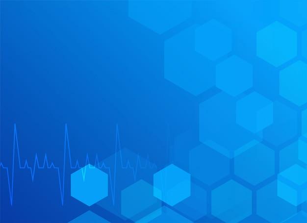 Elegante fundo médico azul com hexágono Vetor grátis