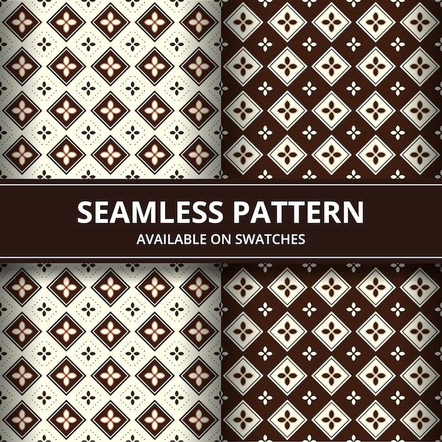 Elegante indonésia tradicional batik sem costura padrão fundo papel de parede em conjunto marrom estilo clássico Vetor Premium