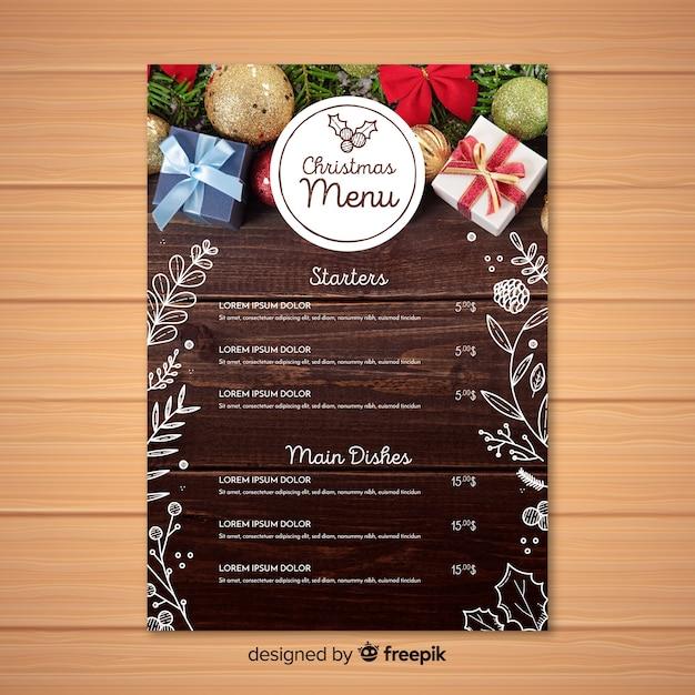 Elegante, menu natal, modelo, com, foto Vetor grátis