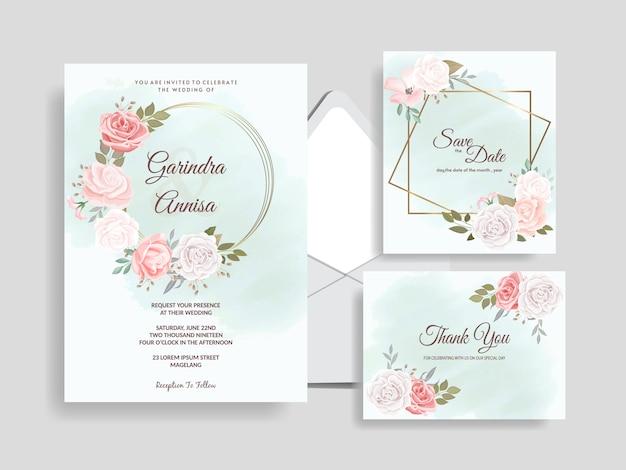 Elegante modelo de cartão de convite de casamento com lindas folhas florais premium Vetor Premium