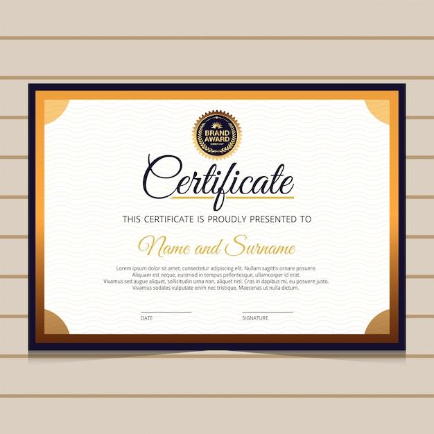 Elegante modelo de certificado de diploma azul e dourado Vetor Premium