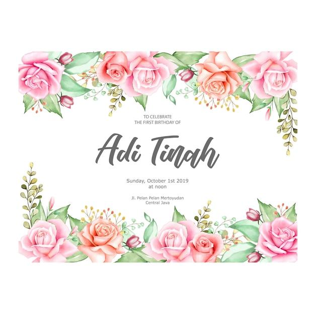 Elegante moldura floral com flores em aquarela Vetor Premium