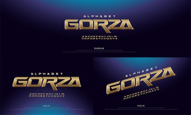 Elegante ouro 3d alphabet regular e italic font Vetor Premium
