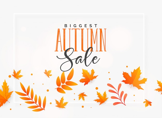 Elegante outono venda fundo com folhas a voar Vetor grátis