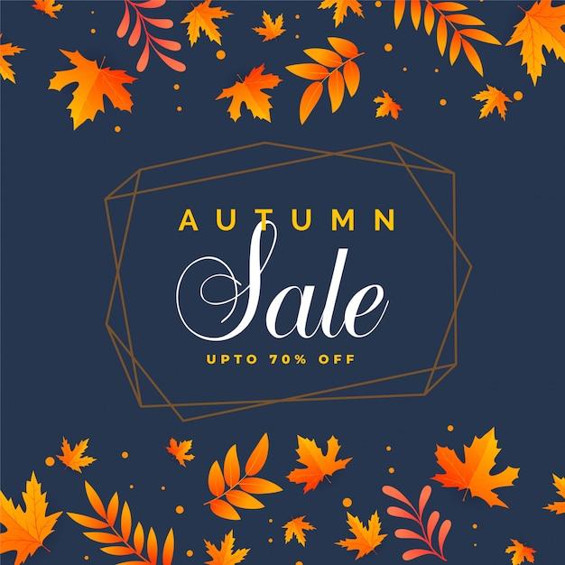 Elegante outono venda fundo com folhas caindo Vetor grátis
