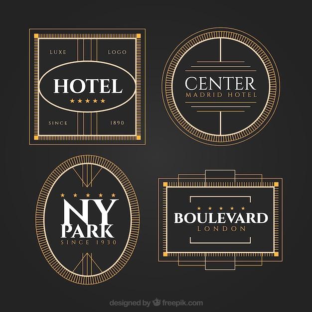 Elegante pacote de logos de hotéis Vetor grátis