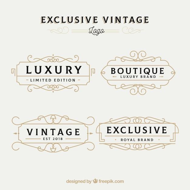 Elegante pacote de modelos de logotipo vintage Vetor grátis