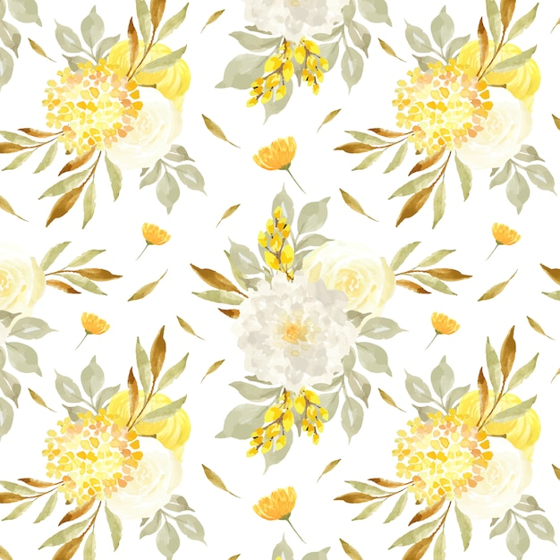 Elegante padrão sem emenda com camomila e flores amarelas Vetor Premium