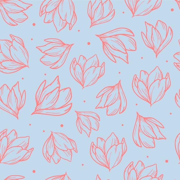 Elegante padrão sem emenda com magnólias de mão desenhada Vetor Premium