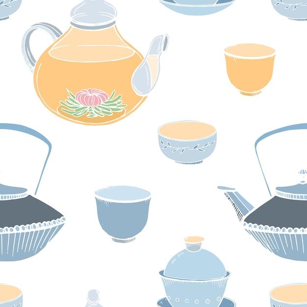 Elegante padrão sem emenda com mão de ferramentas tradicionais asiáticas cerimônia do chá desenhada no fundo branco - Vetor Premium