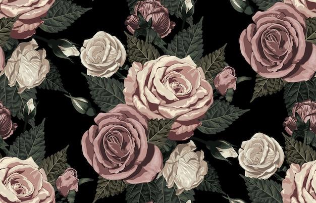 Elegante padrão sem emenda de rosas rústicas tons de blush Vetor Premium